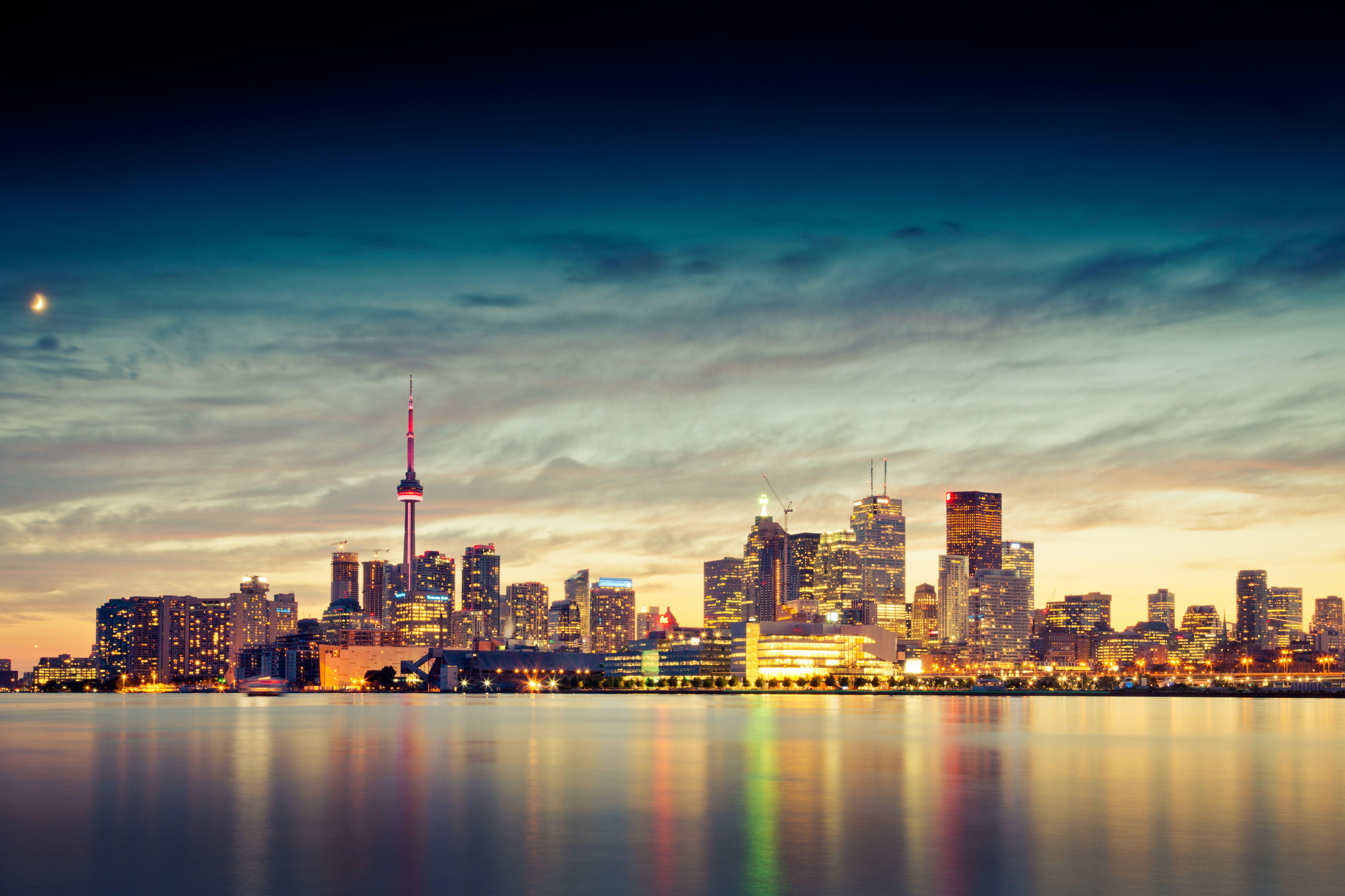 Toronto skyline and Lake Ontario at dusk, Ontario, Canada