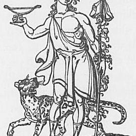 Ein Bild des Gottes Bacchus oder Dionysos aus Keightleys Mythologie, 1852.