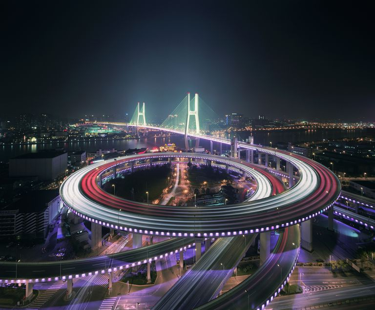 Shanghai's Nanpu bridge illuminated at night