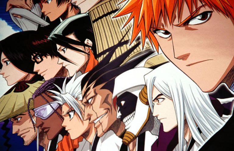 Anime and Manga drawing of several character shiwng profile.