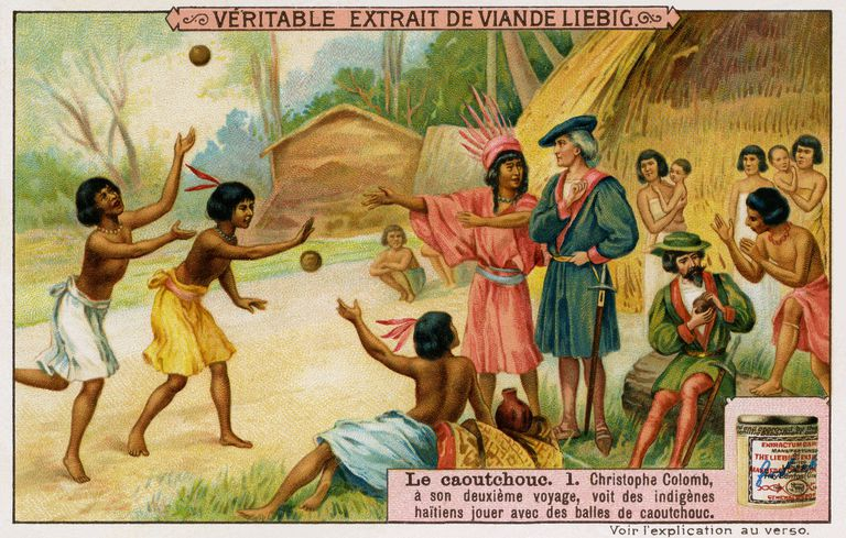 During his second voyage, Christopher Columbus saw that the Indigenous Haitians played with rubber balls