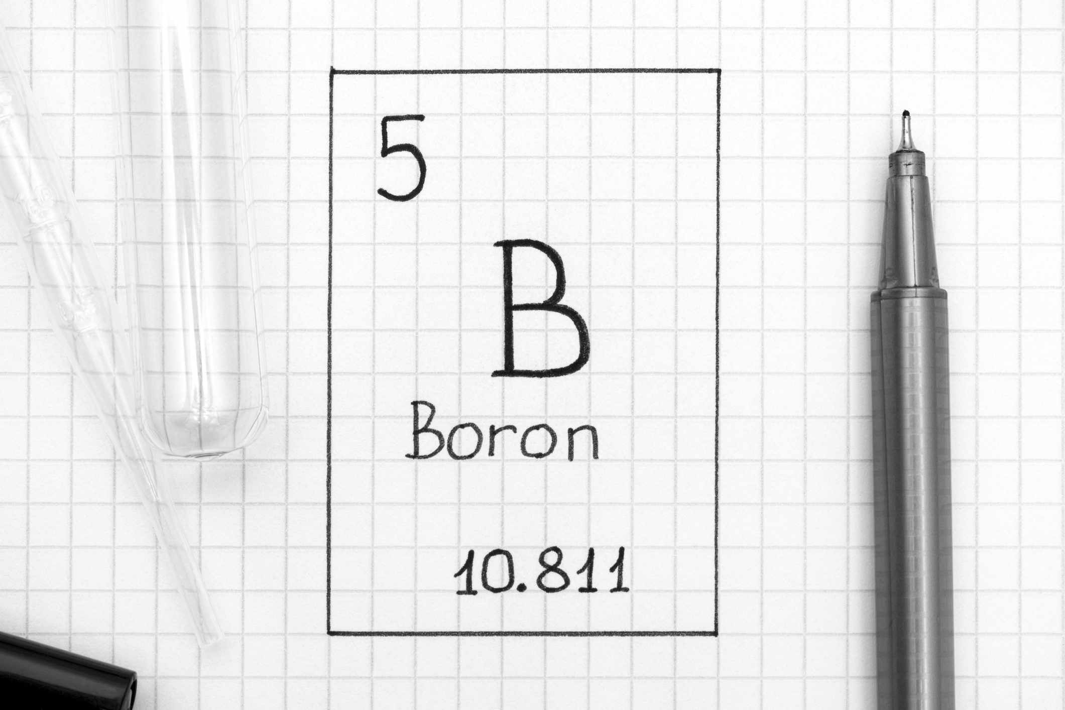 Handwriting chemical element Boron B with black pen, test tube and pipette