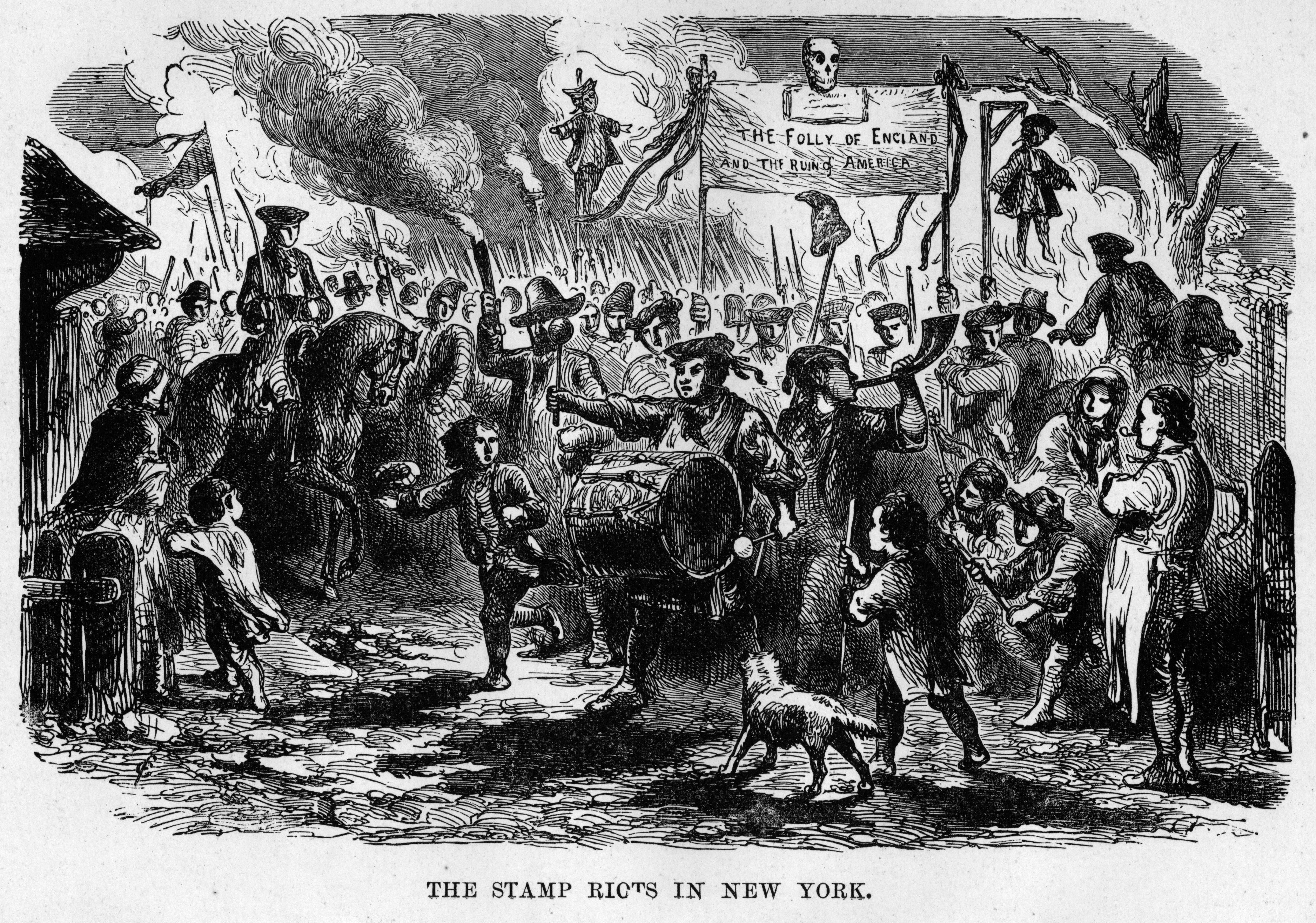 An illustration depicting a group of rioting colonists protesting against the Stamp Act.