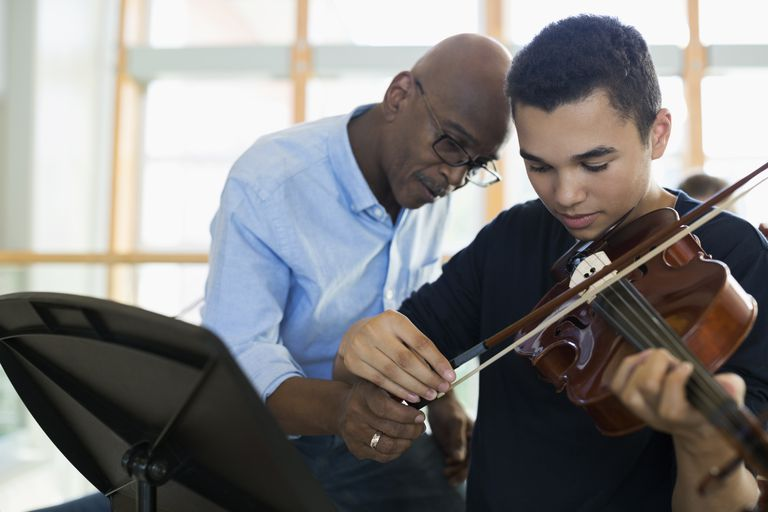 Teacher helping student playing violin.