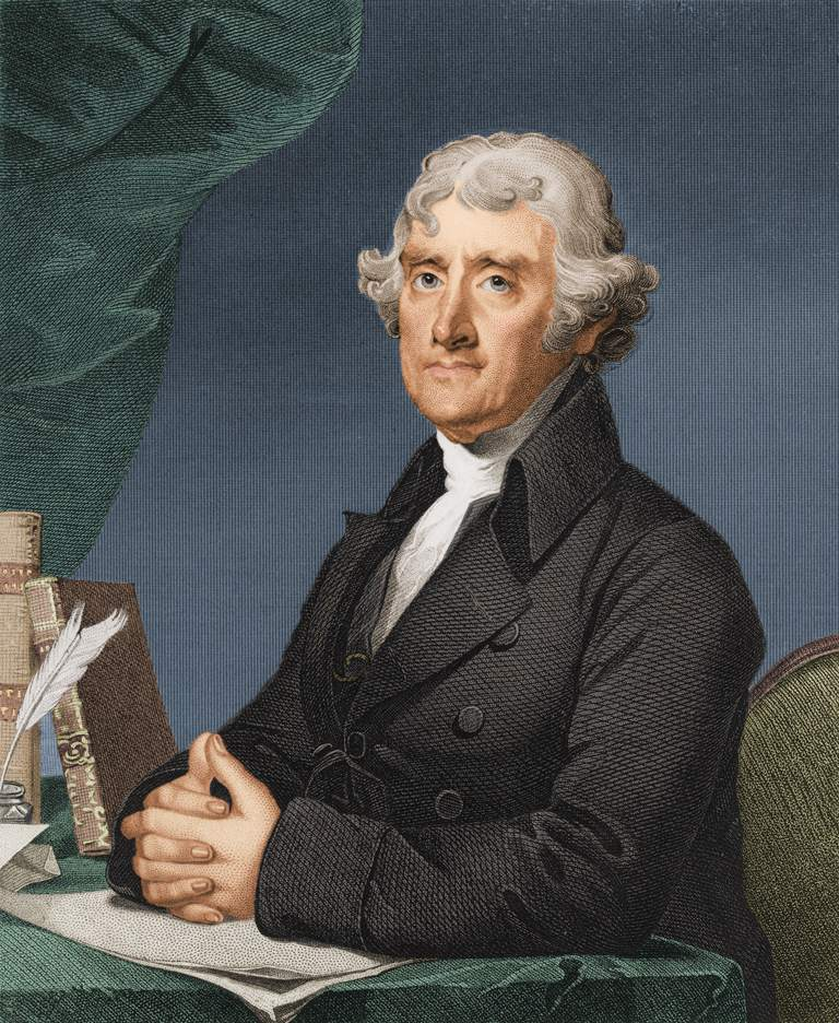Portrait of Thomas Jefferson at desk with hands folded.