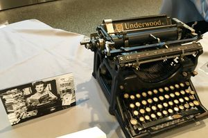 Underwood typewriter with photo of Mildred Wirt Benson at Smithsonian's National Museum of American History