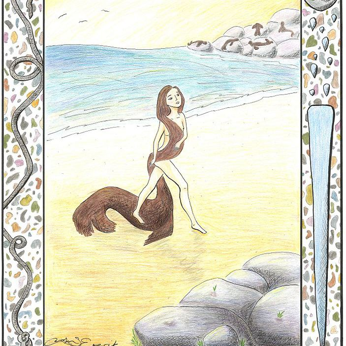 A selkie woman comes out of the sea and sheds her seal skin.