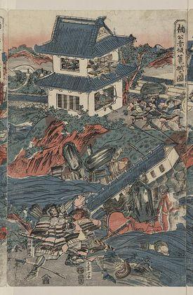 In this 1809 print, 14th century samurai fight in Japan.