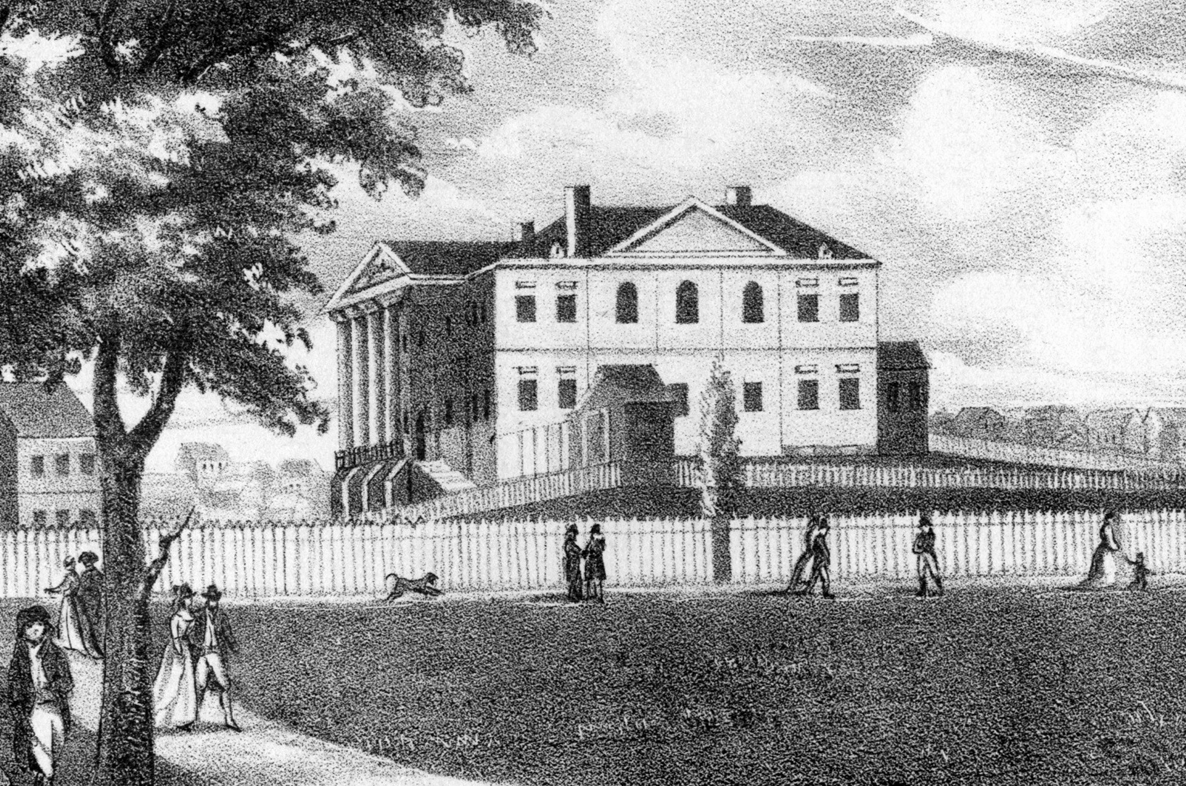 An etching from a painting depicting the Government House in New York, constructed in 1790 to serve as an executive mansion for President George Washington