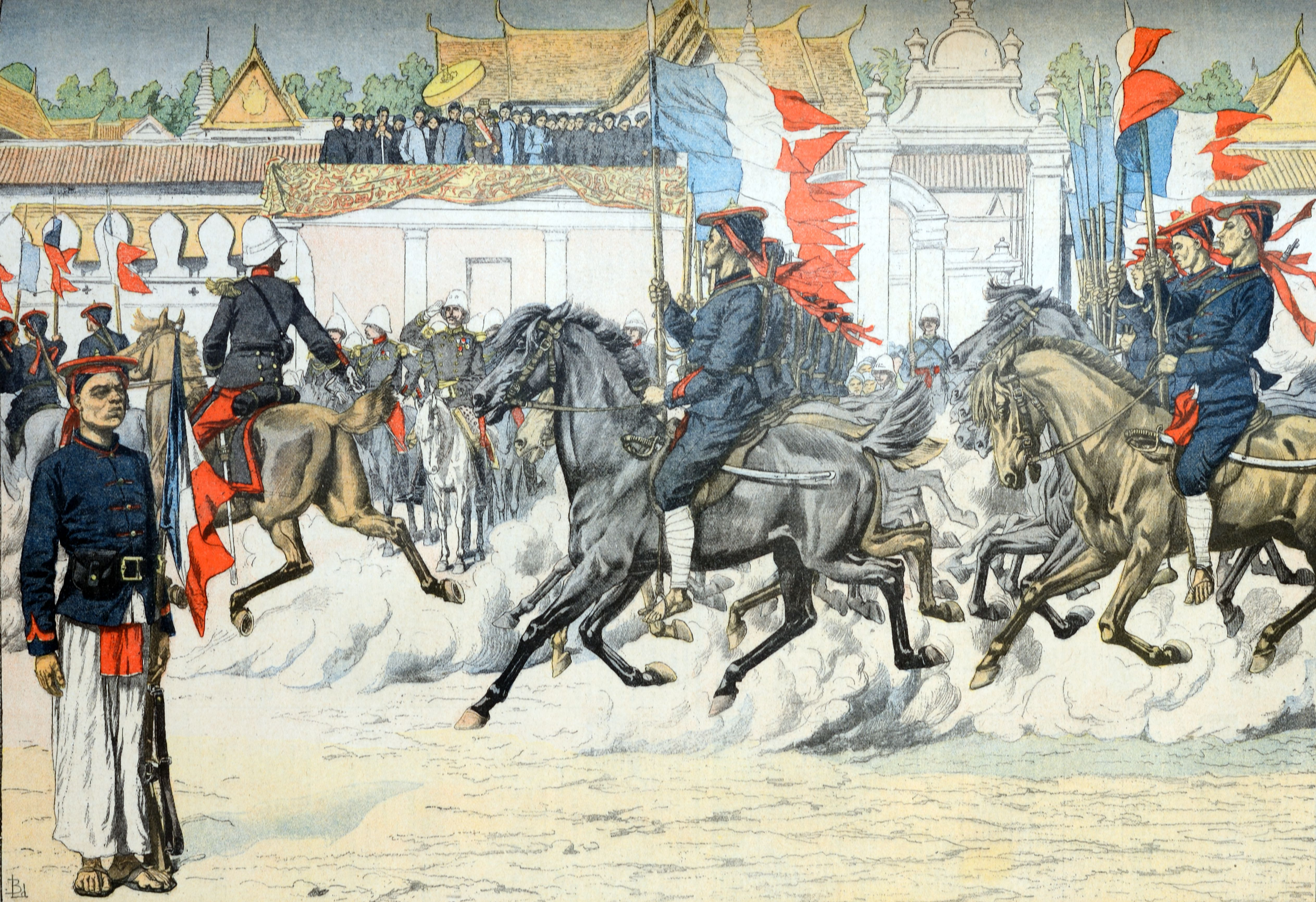 Artist rendering of a procession of indigenous cavalry in French Indo-China (Vietnam).