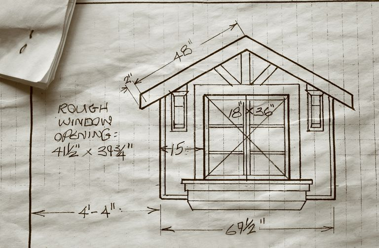 Architectural drawing of a future window with dimensions and focal point