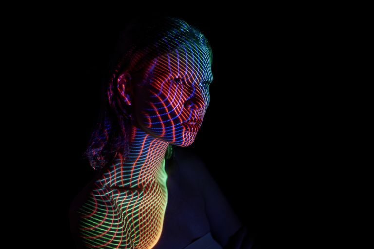 woman with multi color lights