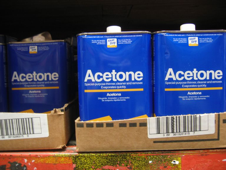 Cans of acetone in the store.