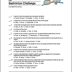 Badminton Challenge druckbar