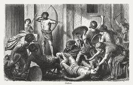 Ulysses kills the suitors, Greek mythology, wood engraving, published 1880
