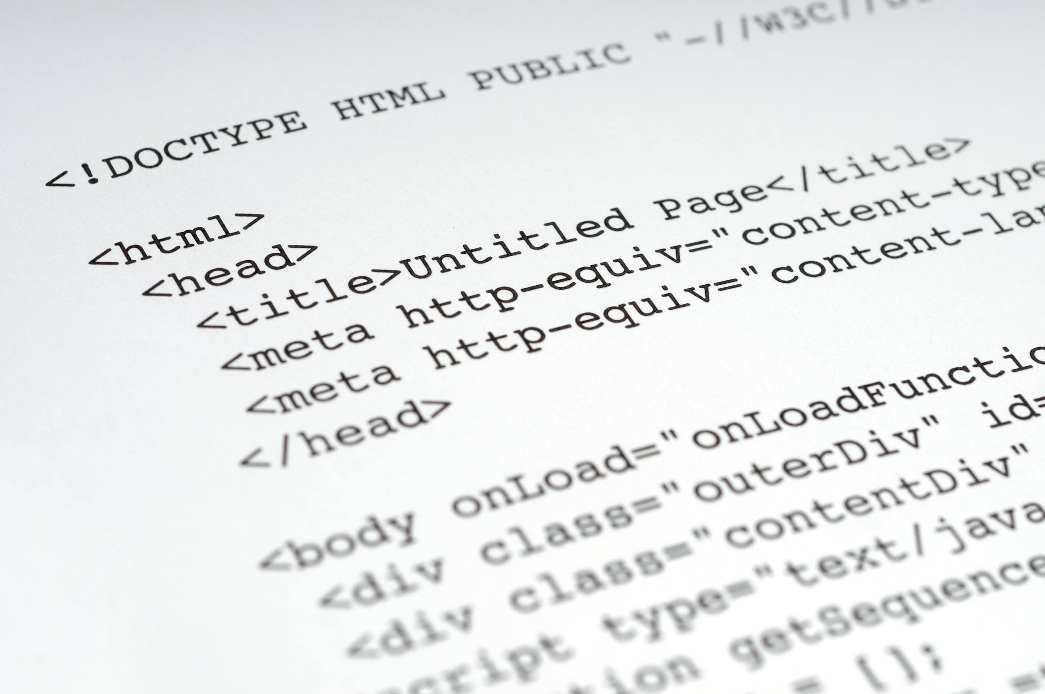 HTML code laid out on a page