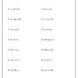 Pre Algebra Worksheets on Isolating Variable