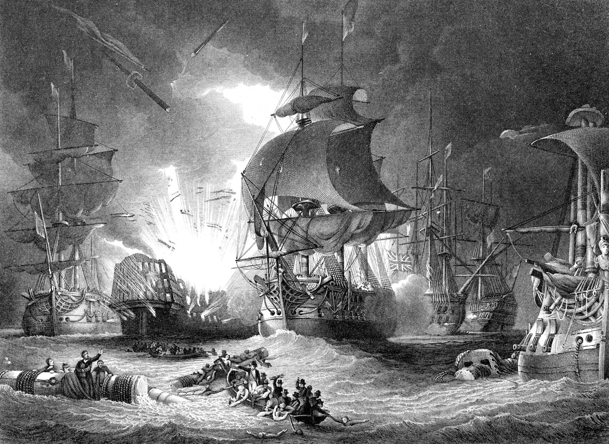 vintage engraving of the Battle of the Nile