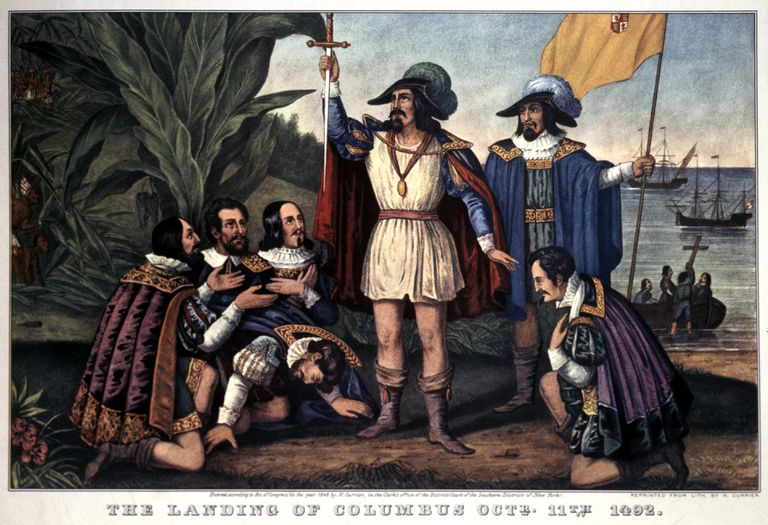 Illustration of Christopher Columbus landing in North America