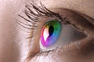 Colorful female eye macro photography Eyesight Contact lens Vision Biometrics concept