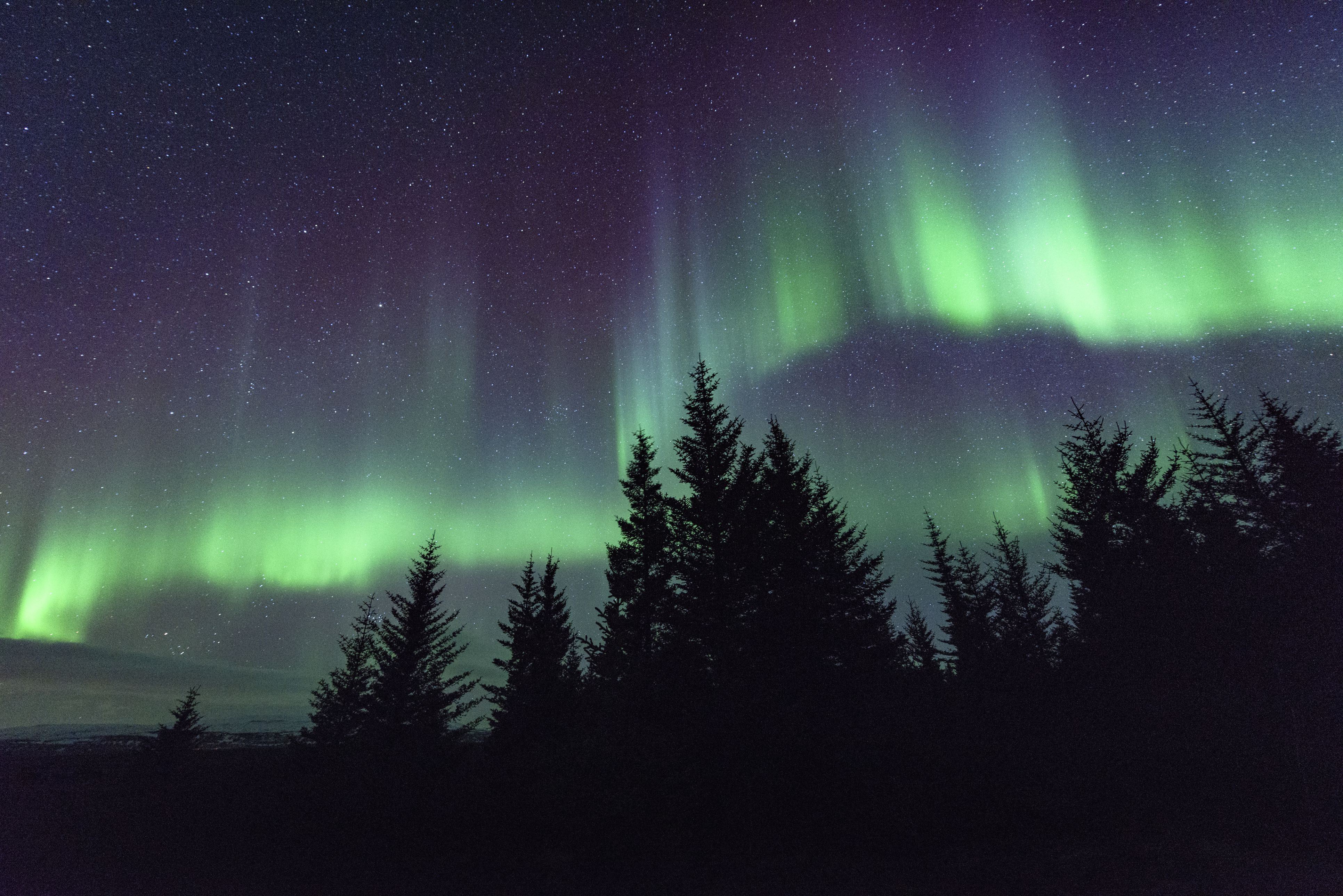 The lines in the aurora follow Earth's magnetic field lines.