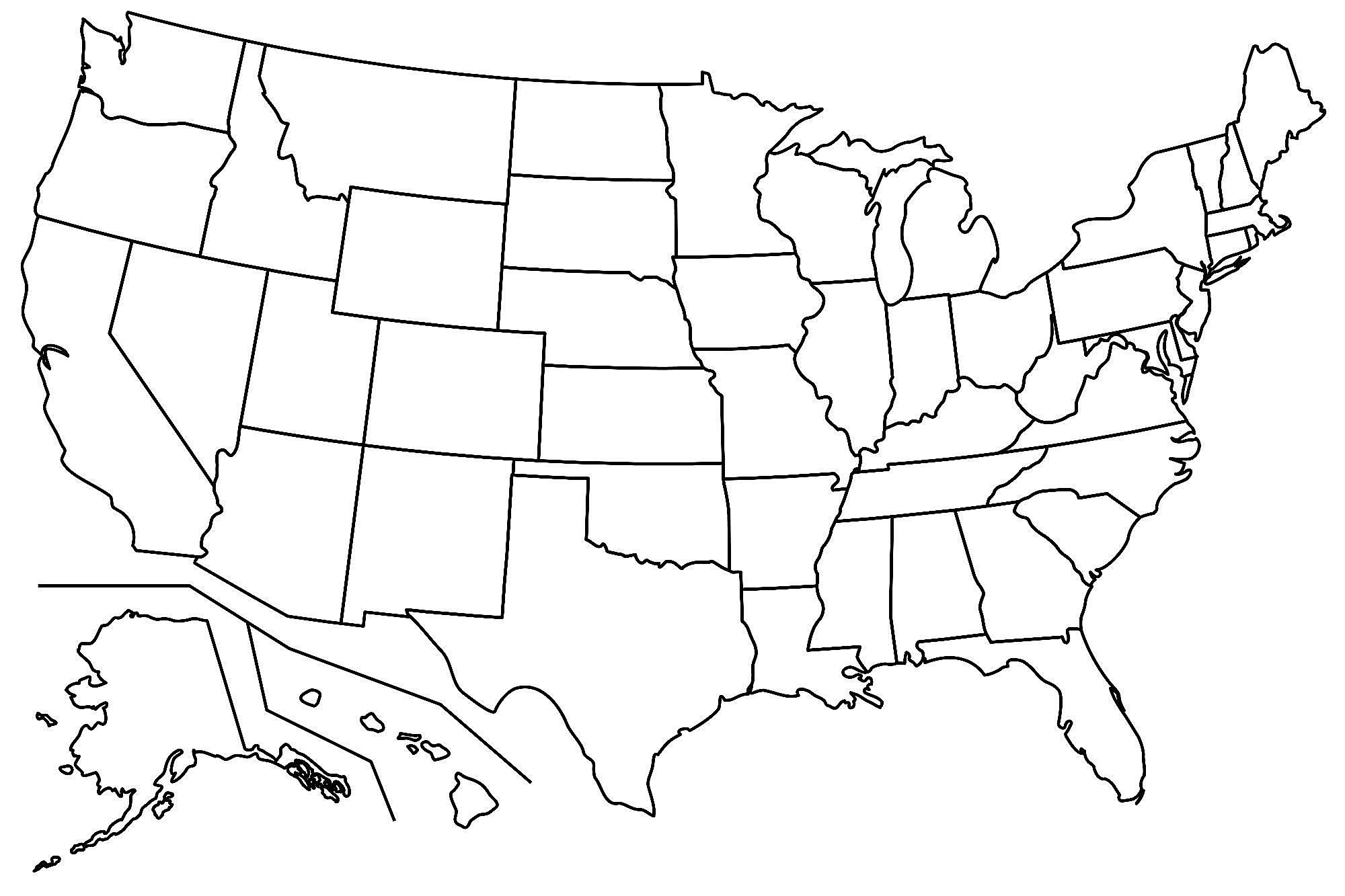 17 Blank Maps of the United States and Other Countries