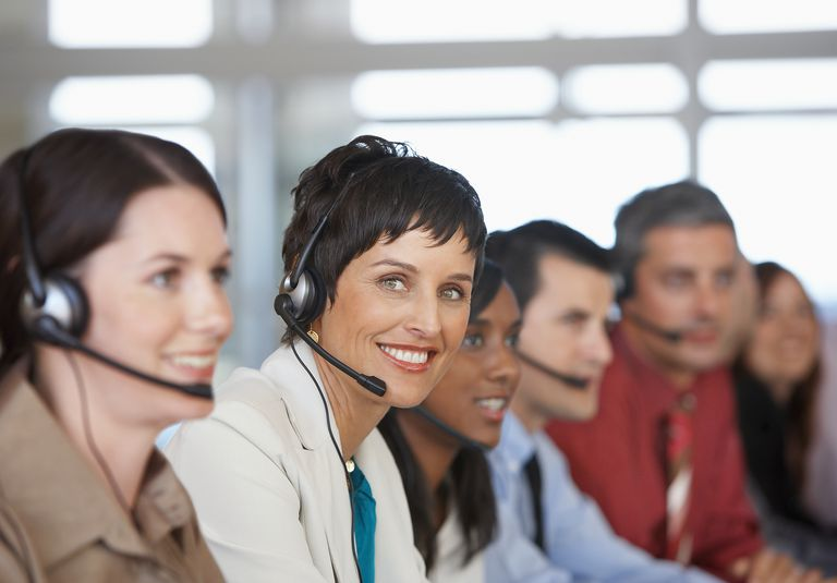 workers in a call center