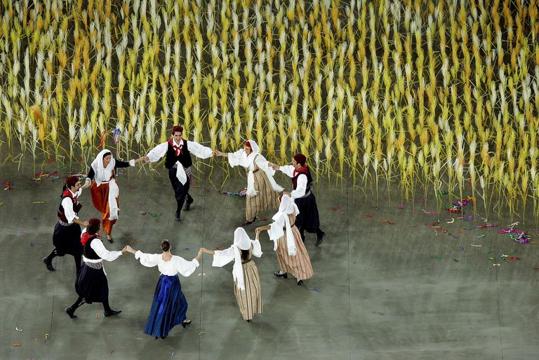 Greek Performers in traditional clothes