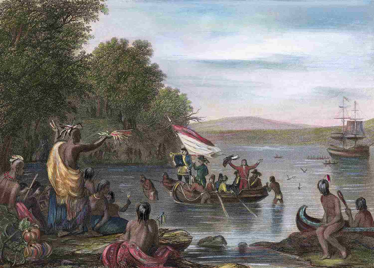 Henry Hudson Greeted by Native Americans