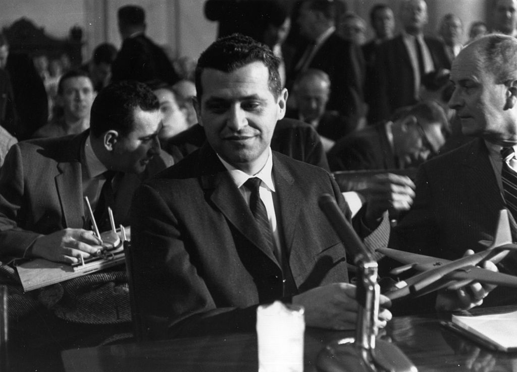 Gary Powers, the American spy pilot shot down over Russia, with a model of the U 2 spy plane at a Senate Armed Forces Committee in Washington.