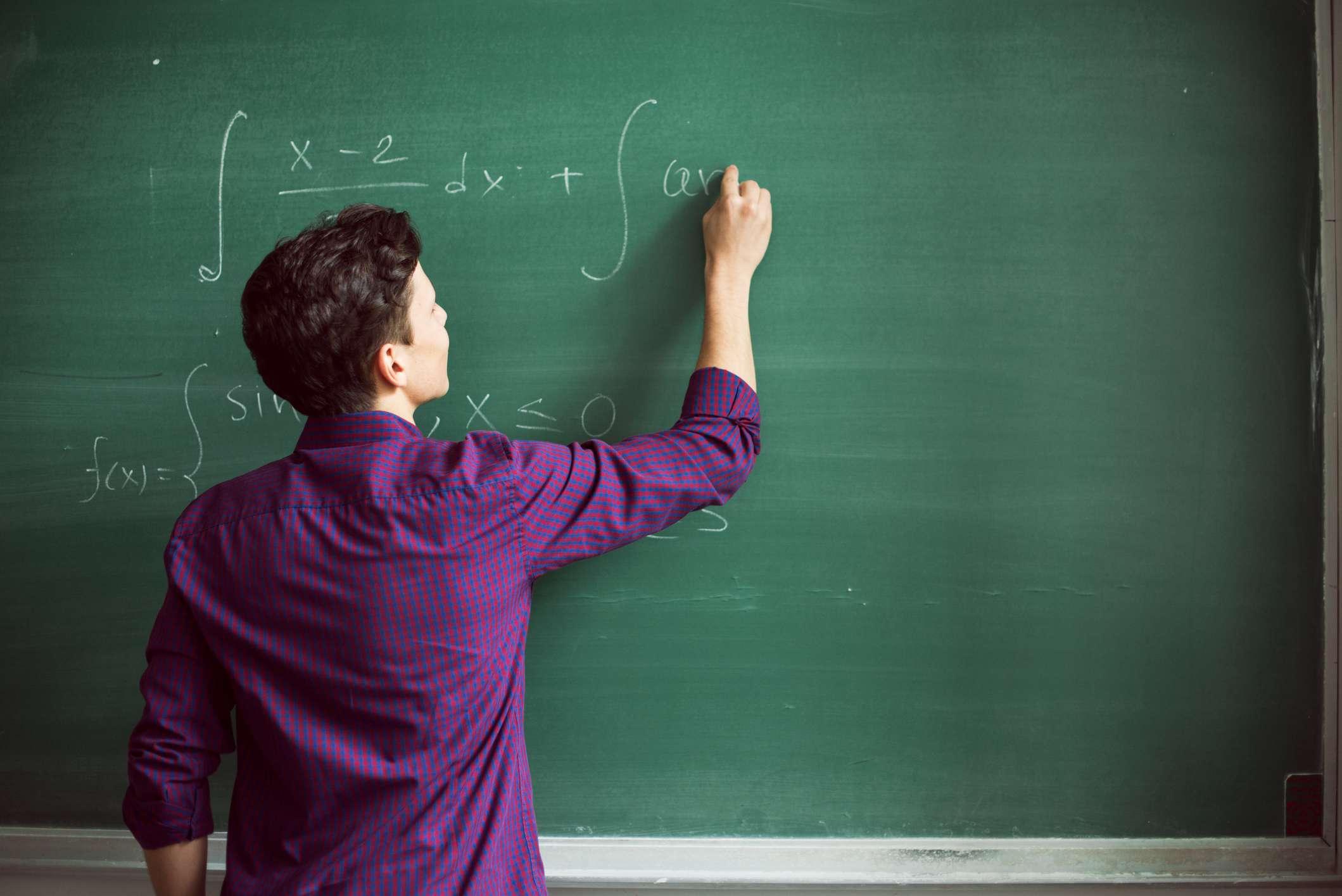 Student solving math problems