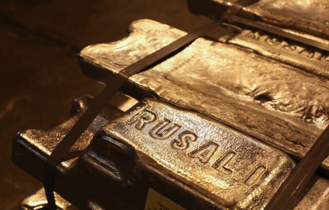 The Rusal logo sits on aluminum ingots ahead of distribution at the Irkutsk aluminium smelting plant, operated by United Co. Rusal, in Shelekhov, Russia