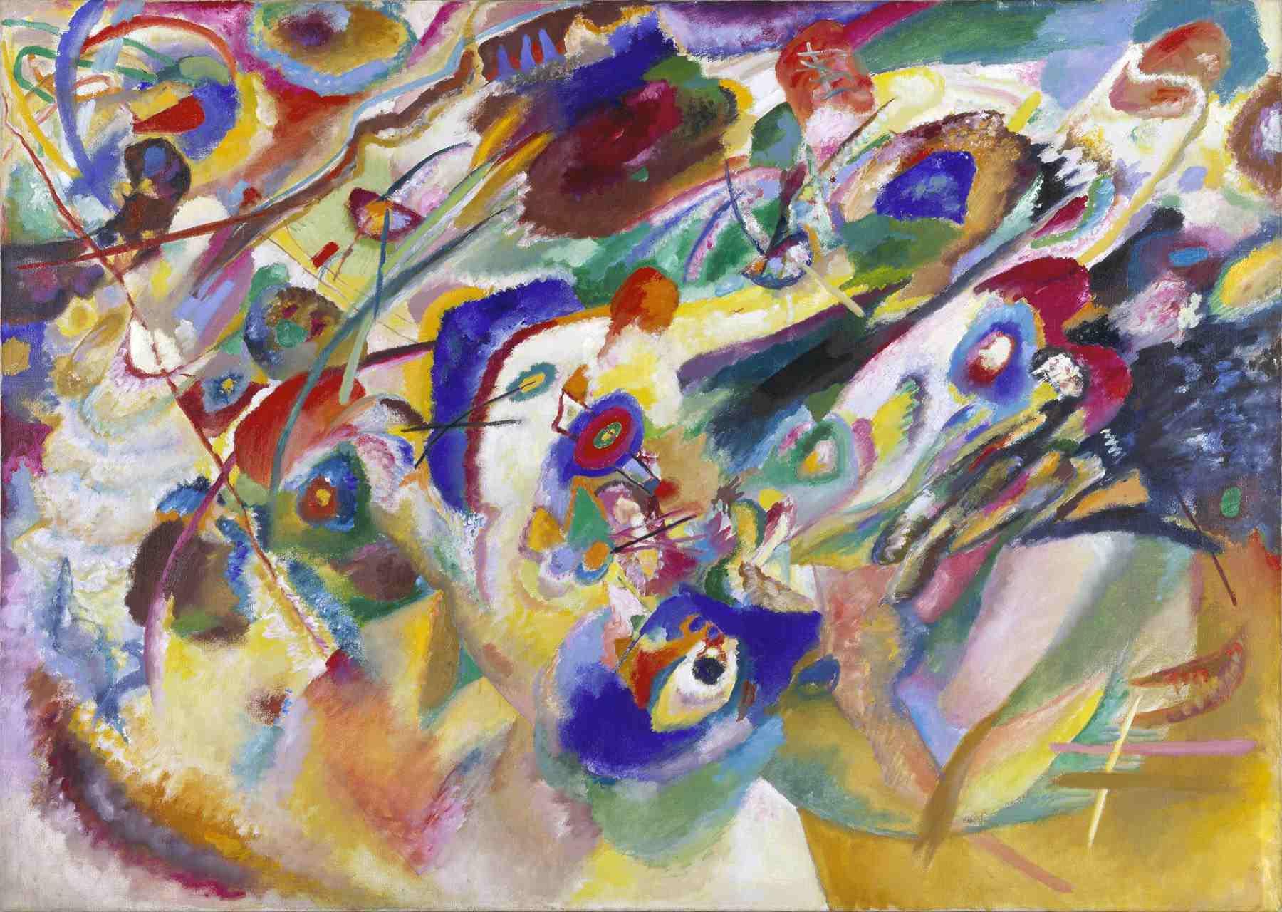 Wassily Kandinsky (Russian, 1866-1944) Wassily Kandinsky (Russian, 1866-1944). Sketch 2 for Composition VII (Entwurf 2 zu Komposition VII), 1913. Oil on canvas. 39 5/16 x 55 1/16 in. (100 x 140 cm). Gabriele Münter-Stiftung, 1957. Städtische Galerie im Lenbachhaus, Munich.