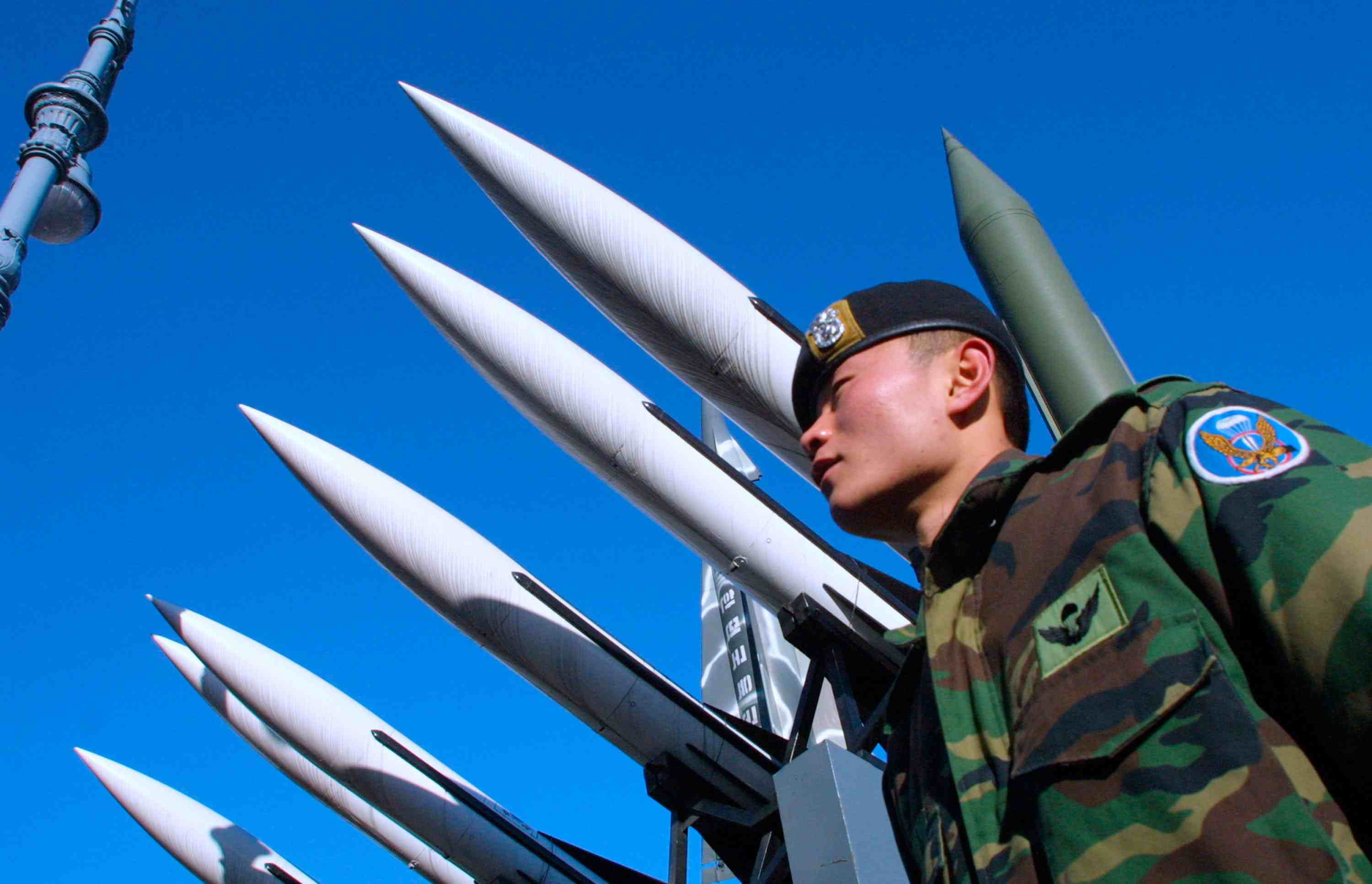 South Korean soldier guards anti-missile defense systems