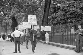 Demonstrators Protesting Treatment of Homosexual in the Military