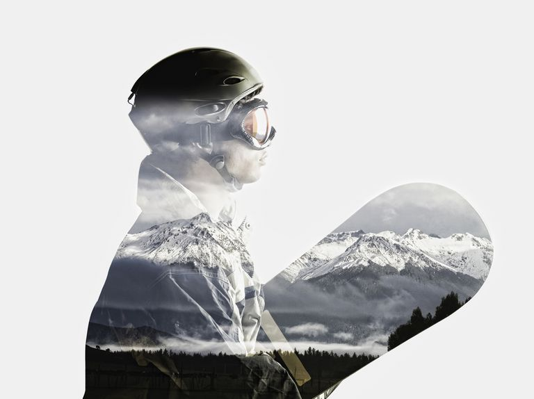 snowboarder with mountains