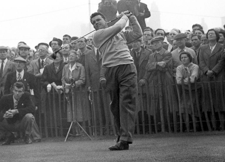 Jack Burke Jr. tees off in a Ryder Cup match in 1953. That was one of five times Burke played the Ryder Cup, and he later captained Team USA.
