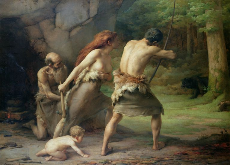 Prehistoric Man Hunting Bears Painting