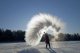 If you throw boiling hot water into cold air, it will instantly freeze into snow.