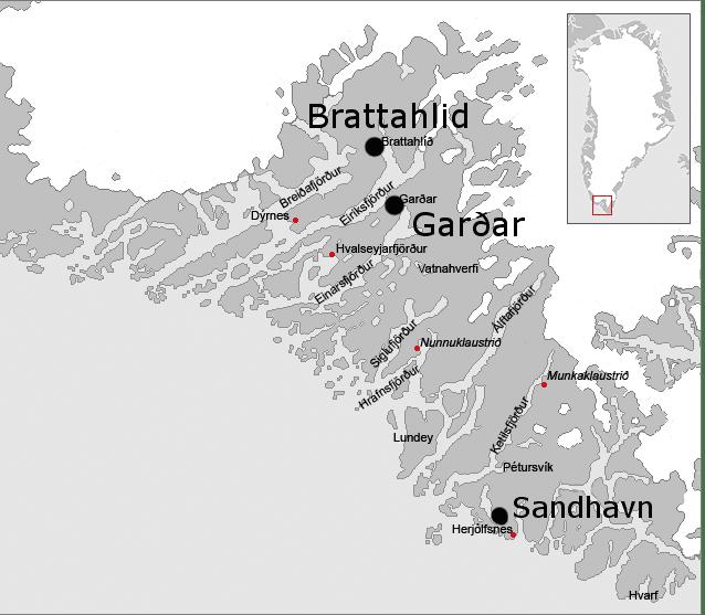 Garðar, Brattahild and Sandhavn, Eastern Settlement, Greenland