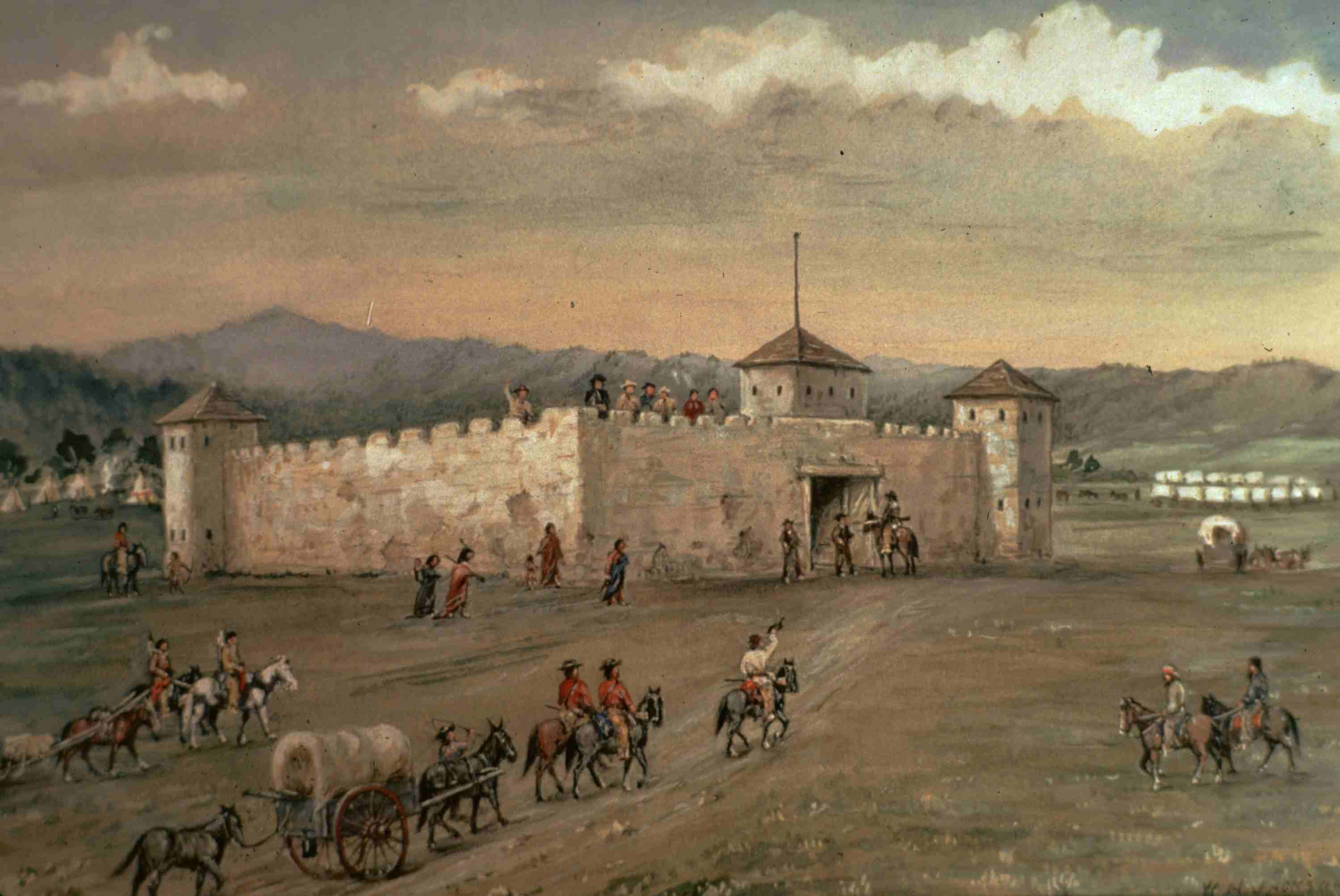Settlers arriving at Fort Laramie, full color painting.