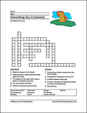 Groundhog day wordsearch crossword puzzle and more groundhog day crossword puzzle ibookread Read Online