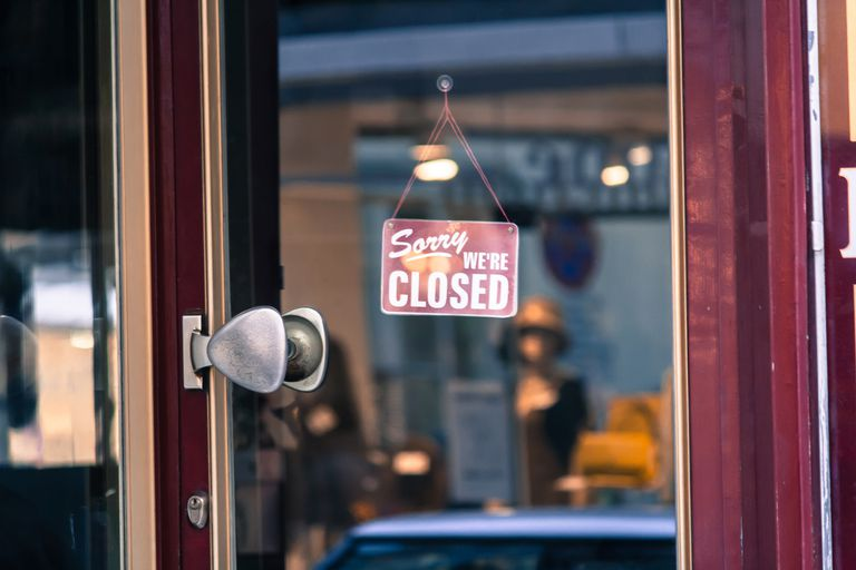 Close-Up Of Closed Sign At Store
