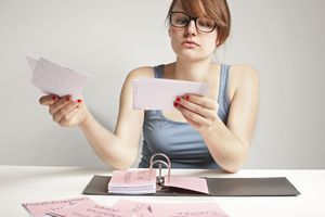 Woman reviewing flashcards