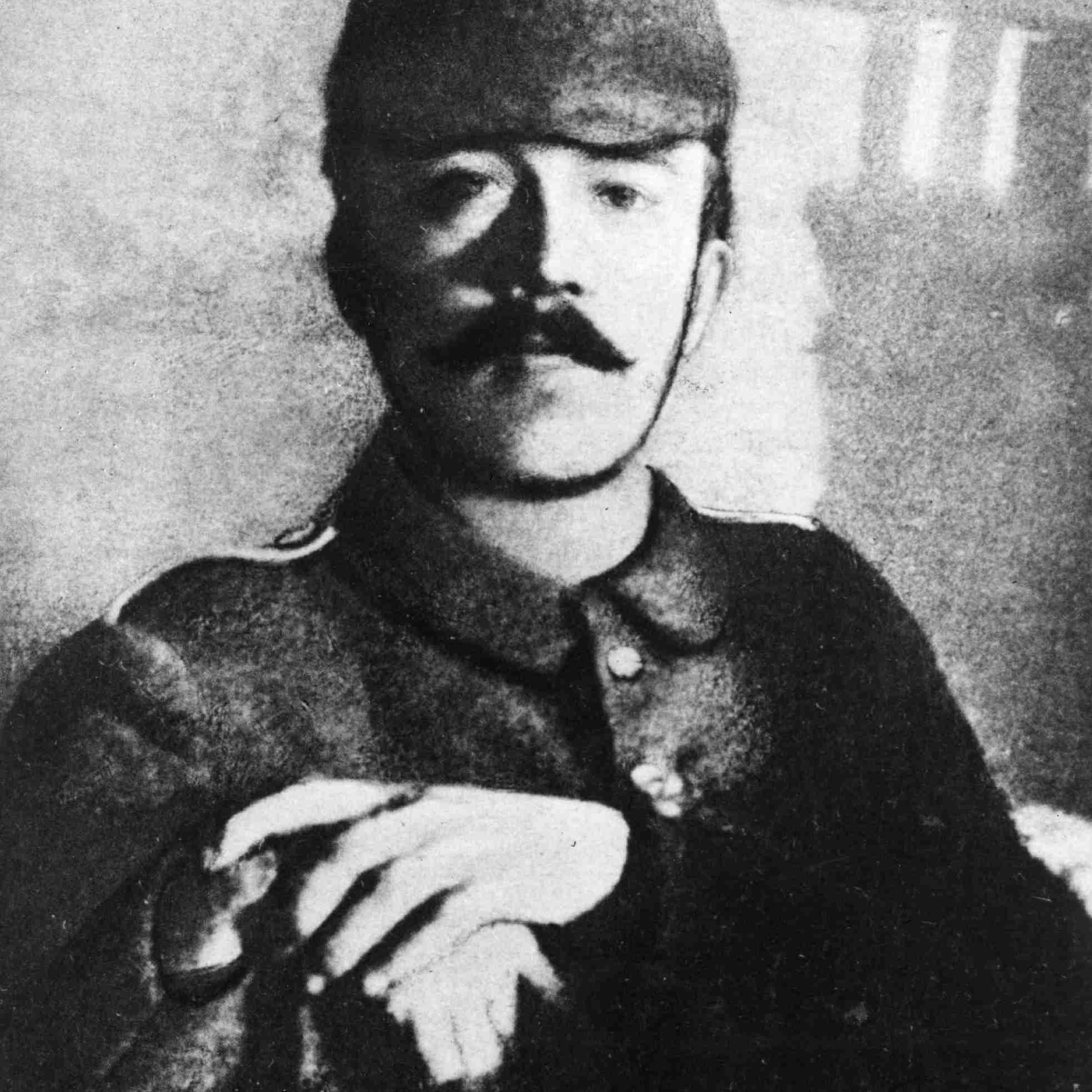 Adolf Hitler circa 1915 dressed in his field uniform during World War I.
