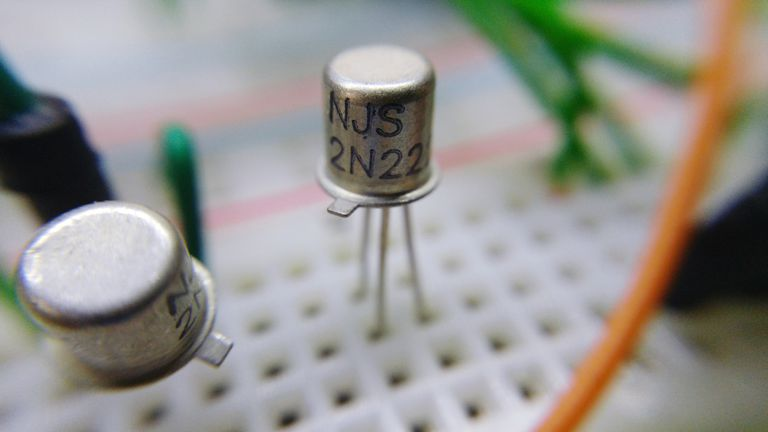 A close-up of a transistor