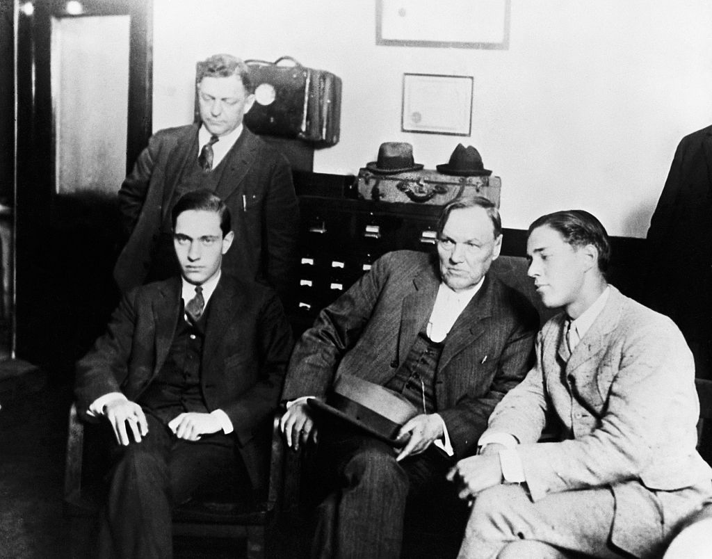 Nathan Leopold, Jr., attorney Clarence Darrow and Richard Loeb