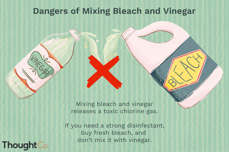 Dangers of mixing bleach and vinegar. Mixing bleach and vinegar releases a toxic chlorine gas. If you need a strong disinfectant, buy fresh bleach, and don't mix it with vinegar.