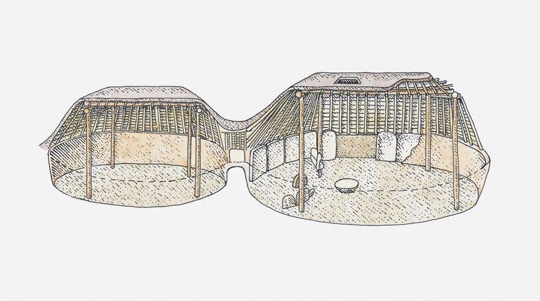 Cutaway illustrations of pre-pueblo pithouses, built by the Ancestral Pueblo people of Colorado