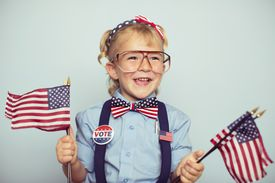 Girl with American Flags